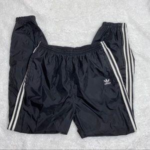Vintage Adidas 3 stripes black trackpants Size L